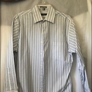 Geoffrey Beene Medium Lg Sleeve Blue Striped Shirt